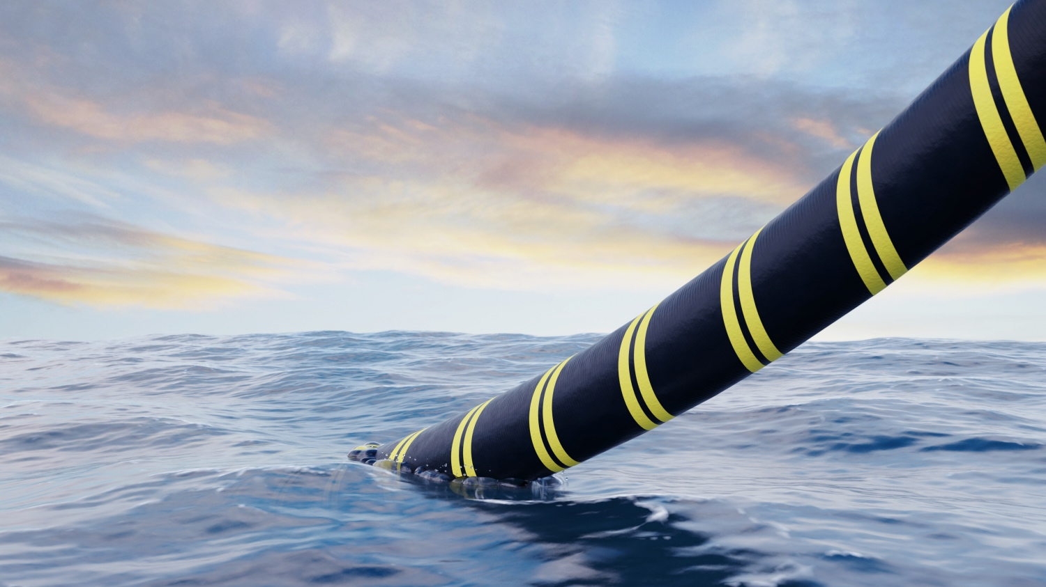 A 3D rendering of a submarine cable being laid onto the ocean floor.