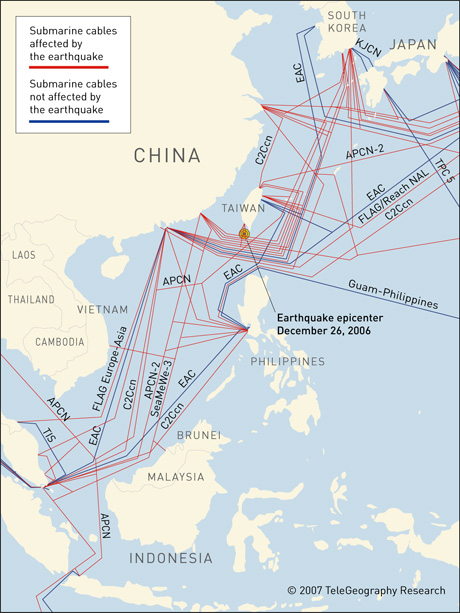 An image of how the earthquake in the Luzon Strait off the coast of Taiwan had affected the many underwater submarine cables.