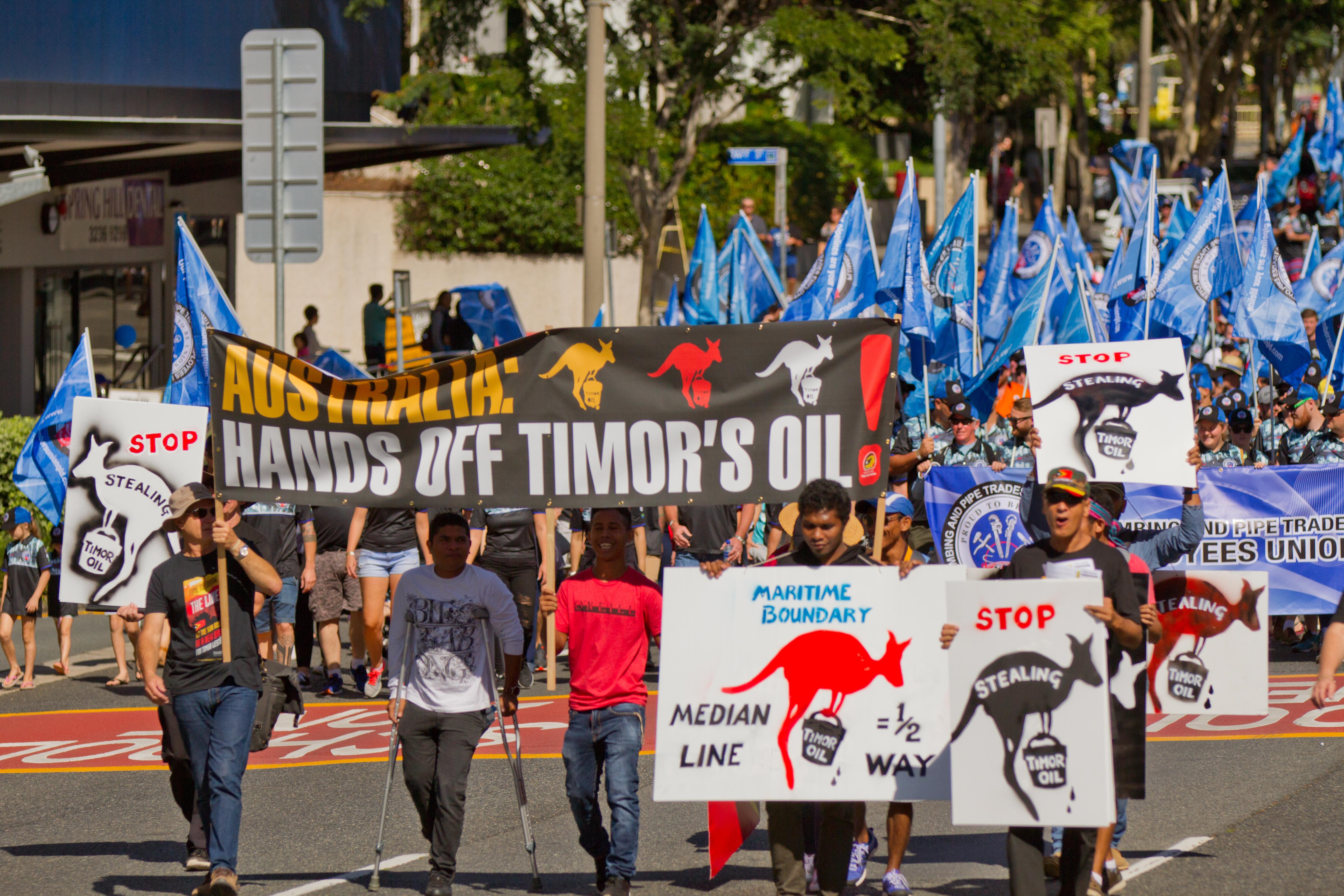 protest against australian exploitation of east timor oil resources