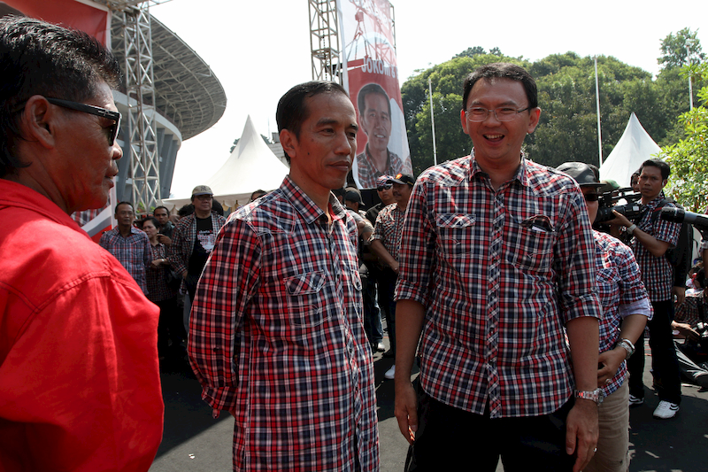 jokowi and ahok wearing checkered shirts