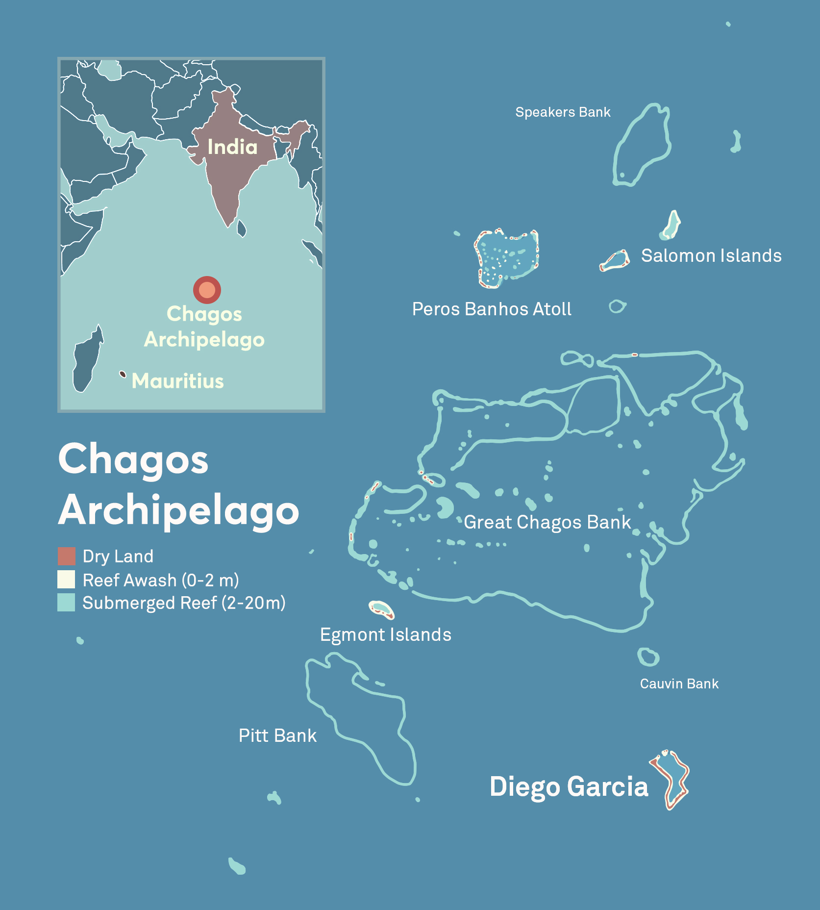 A map of the Chagos Archipelago or Chagos Islands, and its proximity to India and Mauritius.