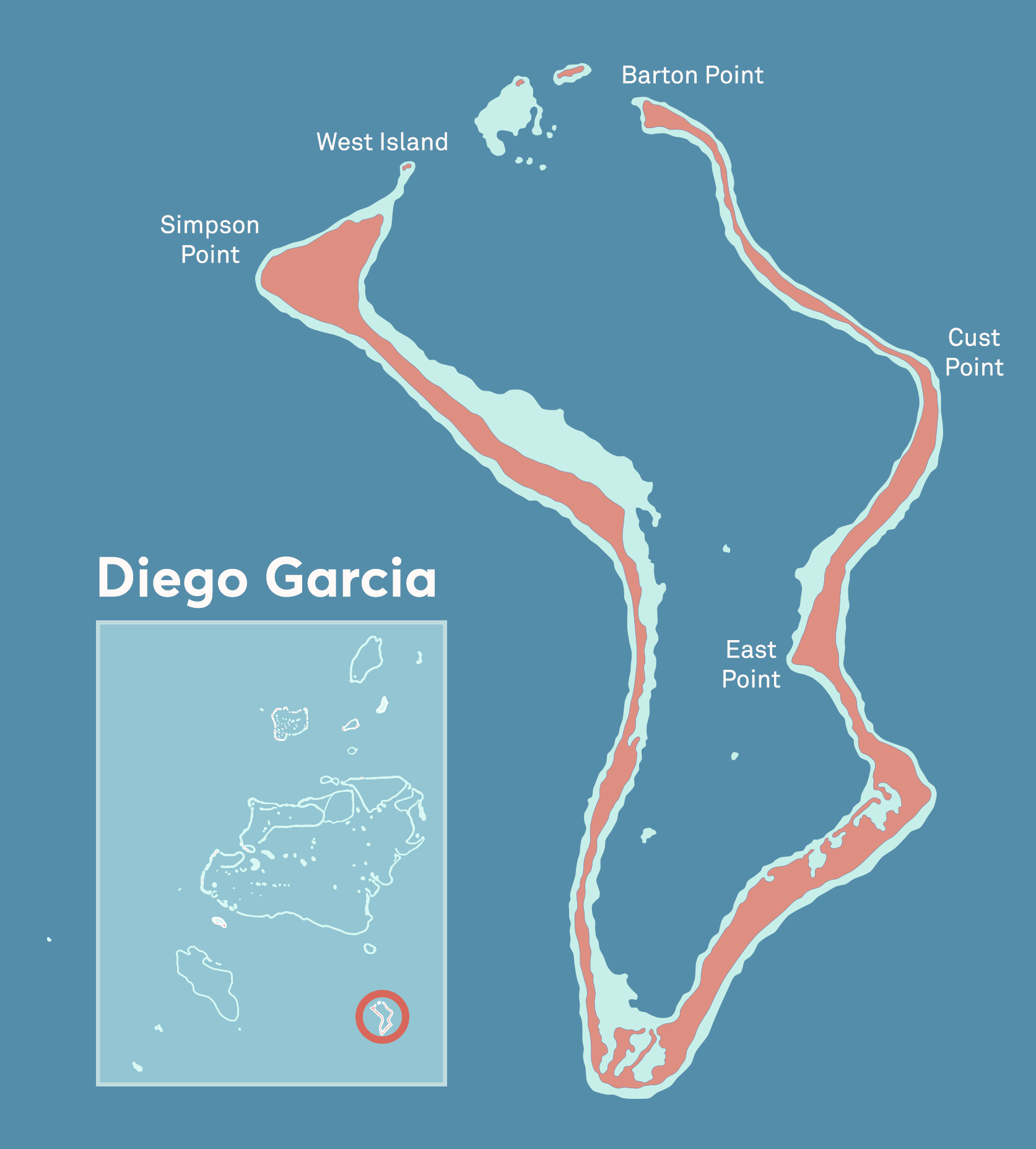 A map of Diego Garcia, an atoll among the Chagos Islands.