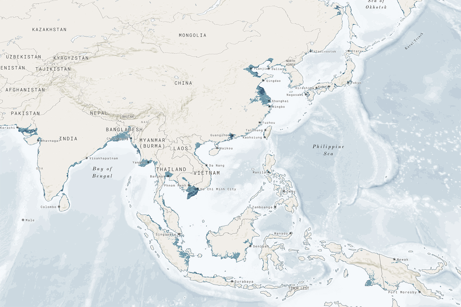 Going Under: How sea level rise is threatening to sink major Asian cities