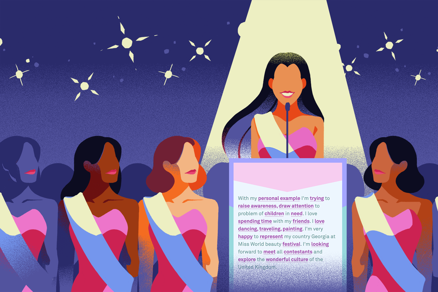 illustrated cover image of beauty pageant contestants, with one speaking at a podium
