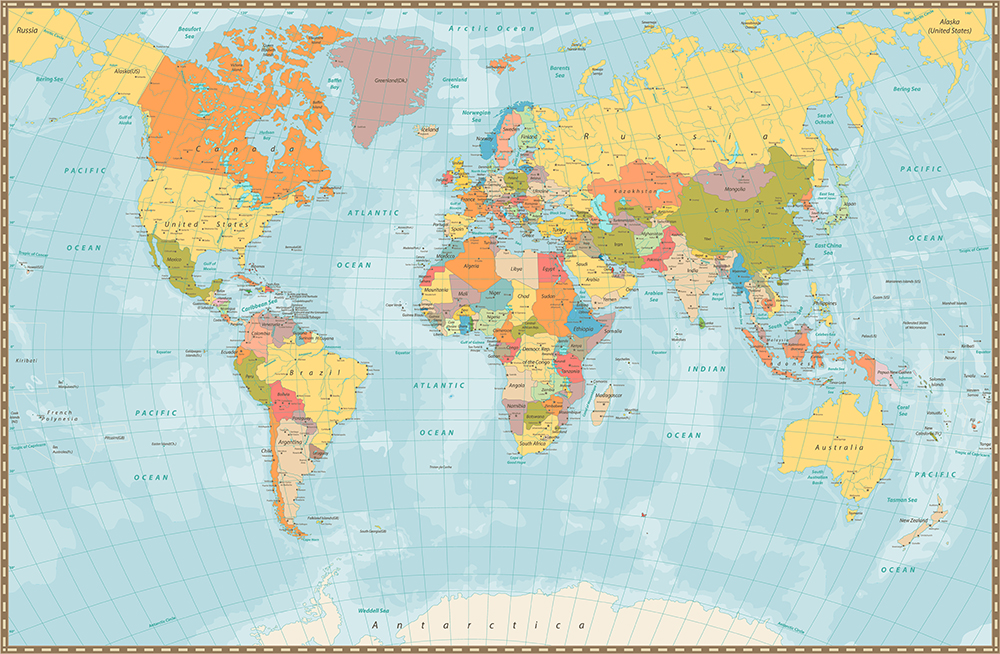 An example of a world map in the Mercator projection.