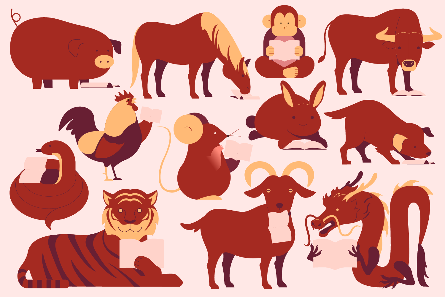 this is an illustration of the 12 chinese zodiac