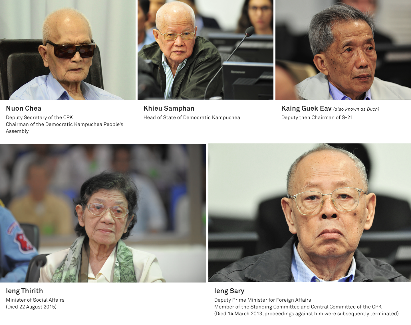 The senior leaders of Democratic Kampuchea, including Nuon Chea, Khieu Samphan, leng Sary, leng Thirith, and Duch.