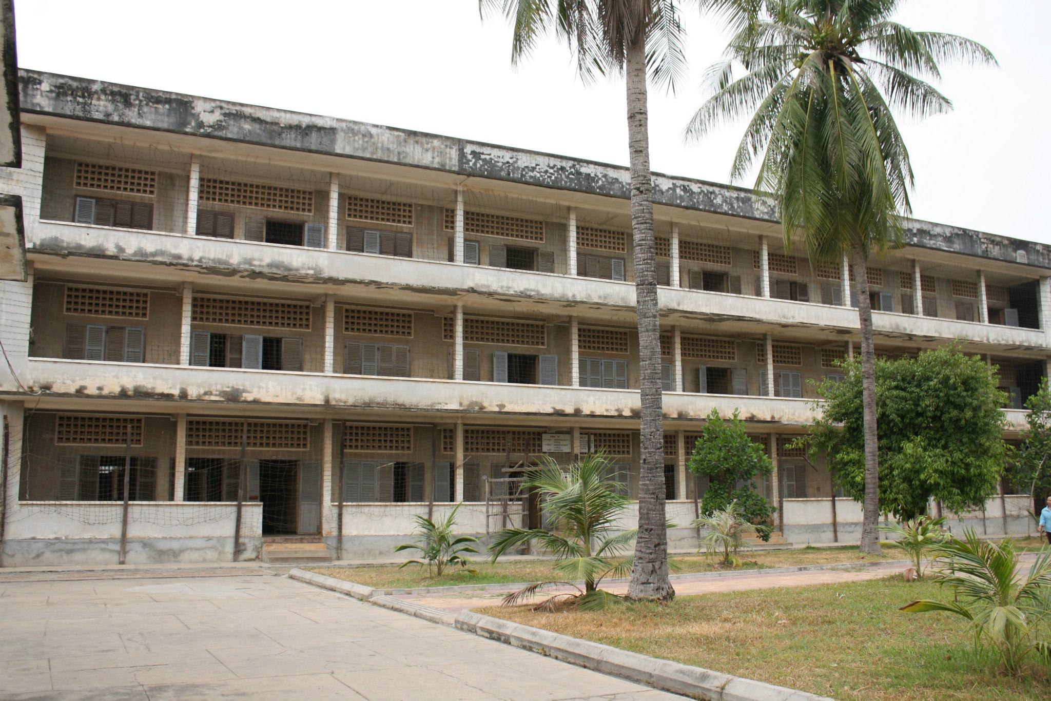 The main building of S-21, or Tuol Sleng prison in Phnom Penh, Cambodia.