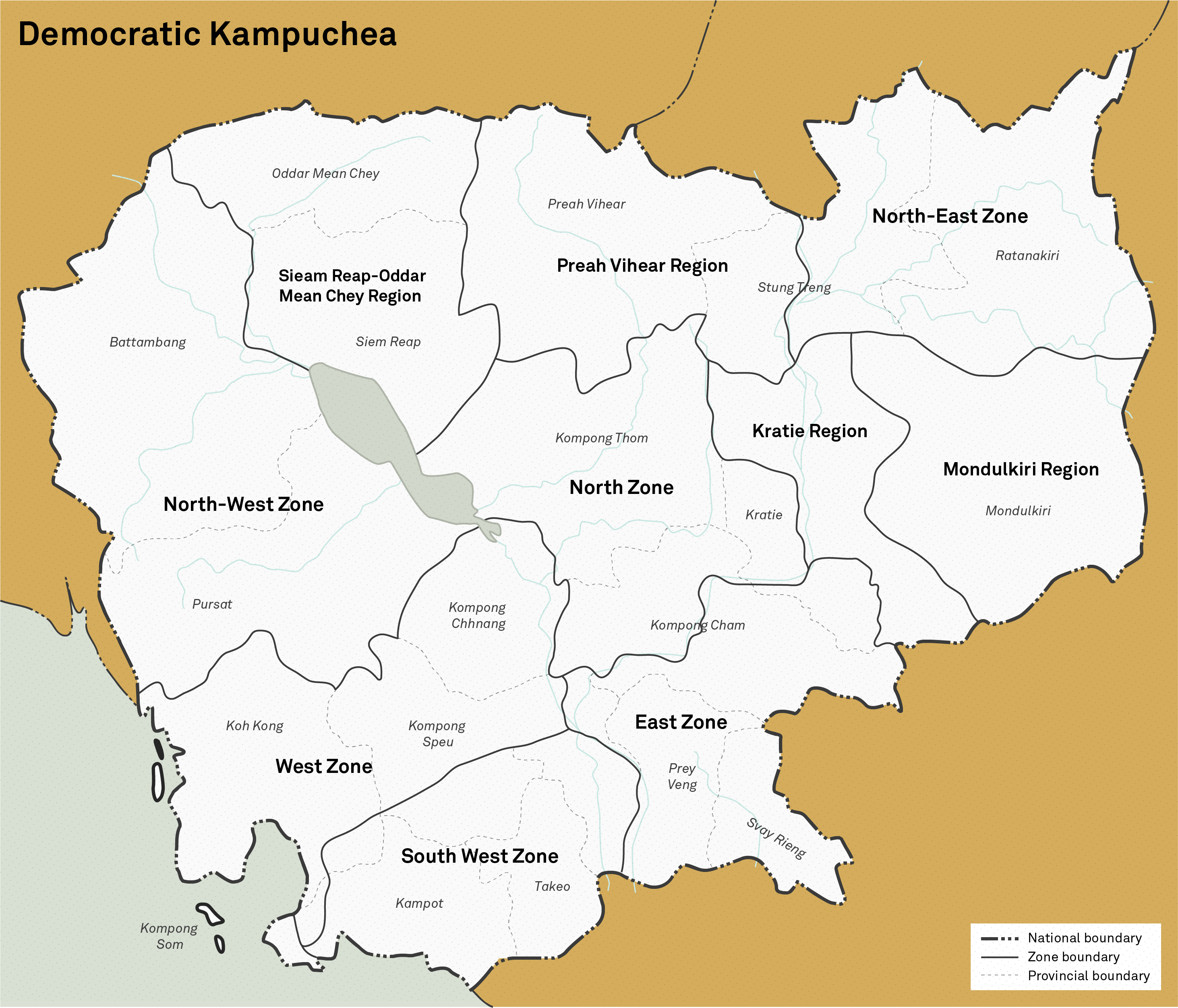 An illustrative map of the Democratic Kampuchea divided into administrative zones, based on the original 1976 map used by the regime.