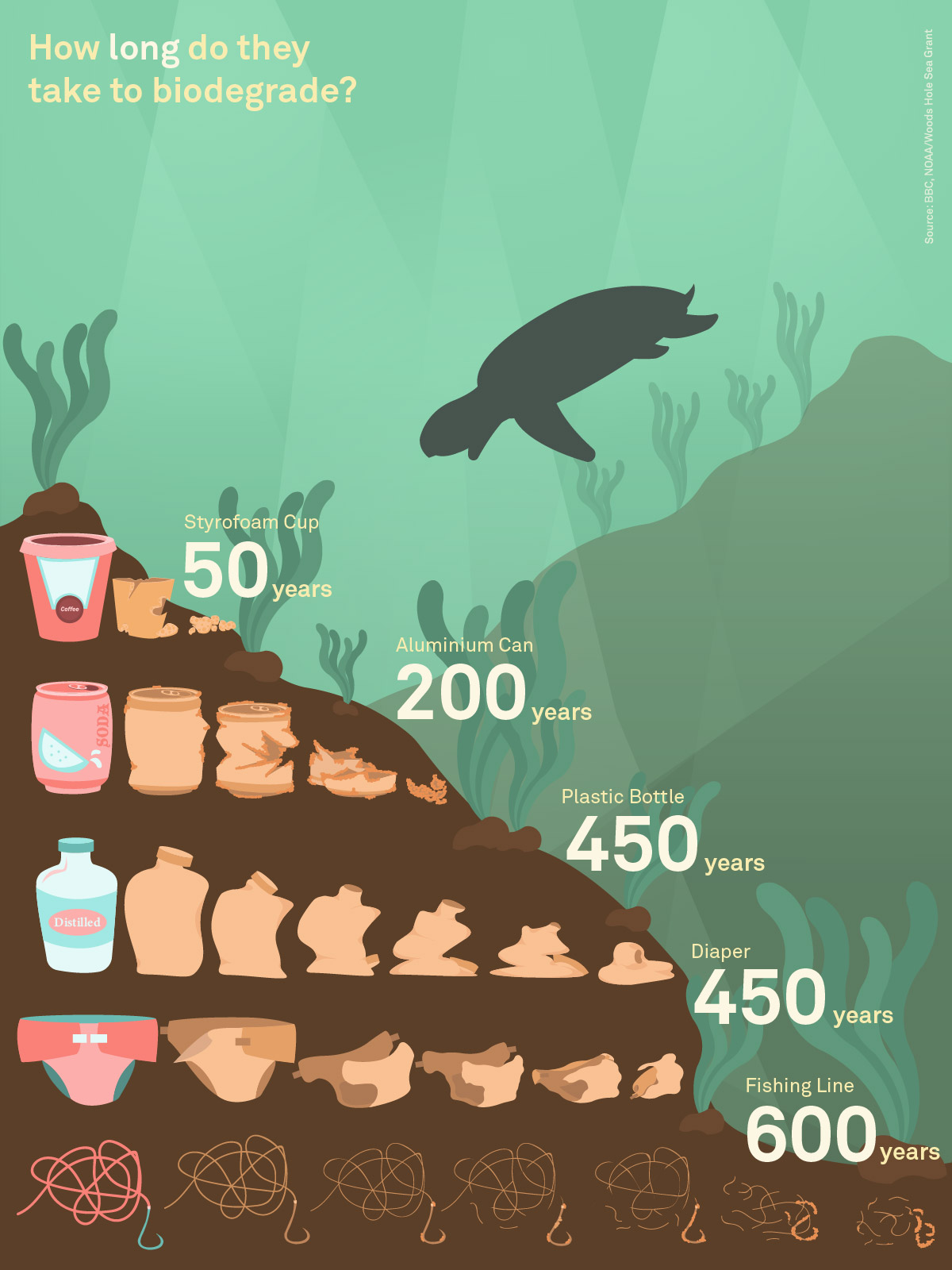 An infographic show the duration to biodegrade various products.