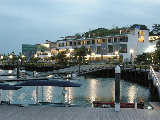 A landscape photo of the Sentosa cove in Singapore.