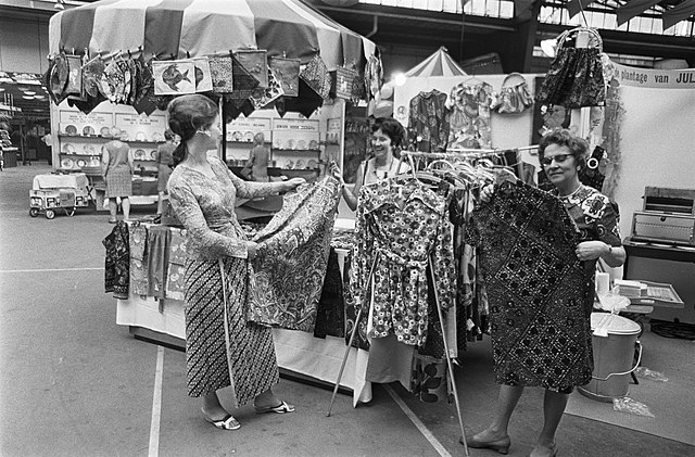 Sarongs sold at a market in the Hague.