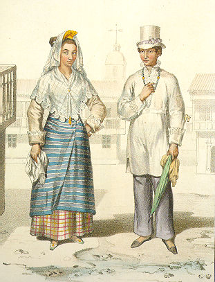 Chinese-Filipino mestizo (mixed race) costume featuring the tapis over a long underskirt, 1800s.